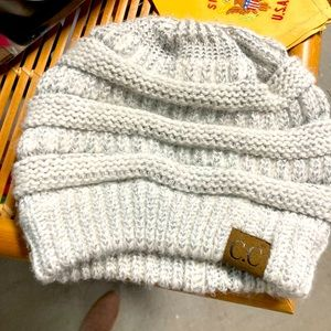 CC silver and grey knit beanie